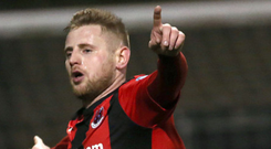 Celebration: David Cushley scored Crusaders' first goal