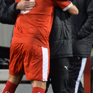 Red alert: Gerard Lyttle and David McDaid celebrate