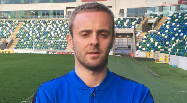 Big stage: Ballinamallard United captain Richard Clarke at Windsor Park ahead of the Irish Cup final