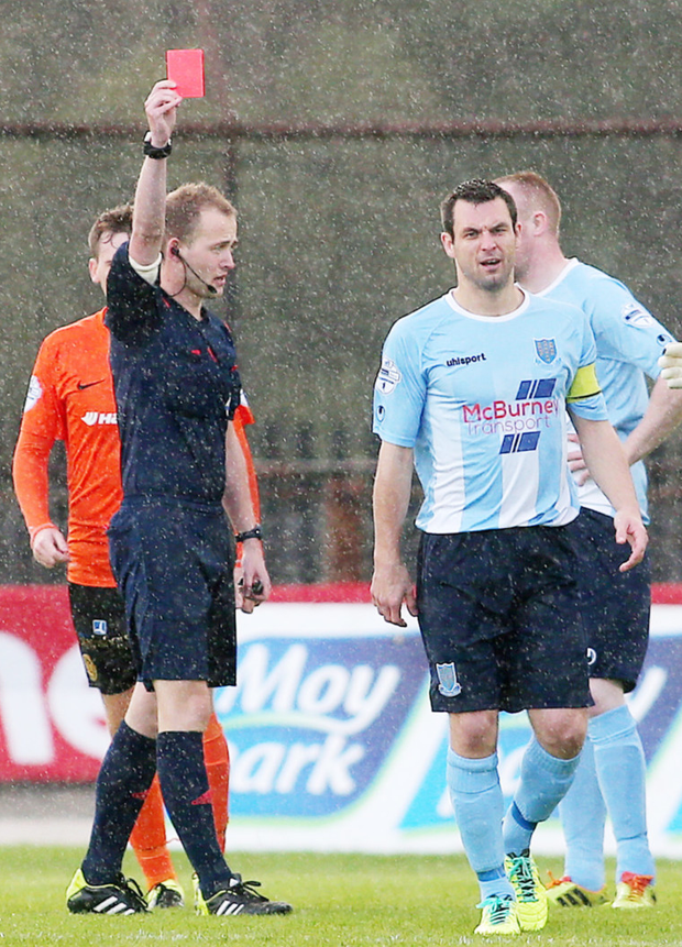 Early bath: Ballymena's Jim Ervin sent off inside a minute