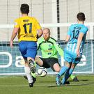Ballymena keeper Dwayne Nelson denies Mark McCabe