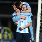 Man of the moment: Fra McCaffrey celebrates his double after a difficult start to life at Ballymena United