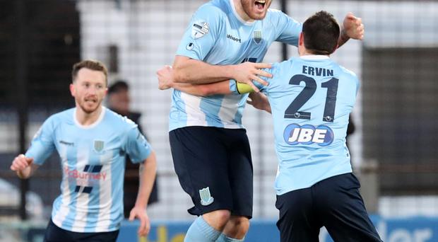 Jump to it: Ballymena United's Cathair Friel scores against Carrick Rangers earlier this year