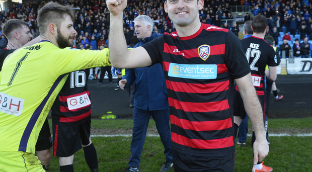 Thumbs up: Eoin Bradley netted twice for the Bannsiders