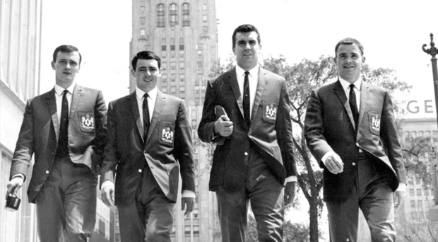 Arthur Stewart (far right) strolls through Detroit with Glentoran team mates Bill McKeogh, Jim Weatherup and boss John Colrain