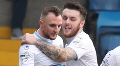 Well done: Cathair Friel praises Jude Winchester after his goal