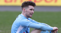 Dream over: Ballymena's Ryan Mayse shows his dejection at the end of a game settled by Hernany Macedo Marques' winning goal