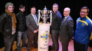 Up for the cup: Pictured at yesterday's Irish Cup draw are: Gary Haveron of Carrick Rangers, Gary Hamilton of Glenavon, James Kirk of PSNI, David McAlinden of Larne, Lee Doherty of Ballymena United and Aaron Service of Moyola Park