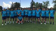 Safety first: The Linfield squad ahead of training in Nyon after their clash with Drita was called off
