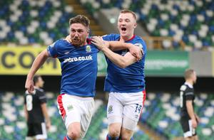 Good times: Linfield duo Mark Stafford and Shayne Lavery enjoy the Windsor Park win over Qarabag in the Europa League last year