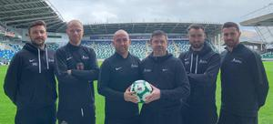 Class acts: The Northern Ireland Football Company coaches Michael Gault, Michael Dougherty, Barry Johnston, Lee Carroll, Mark Patton and Ryan Adams