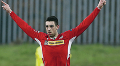 Cliftonville's Joe Gormley celebrates scoring against Linfield during Saturdays Danske Bank Premiership game at Solitude