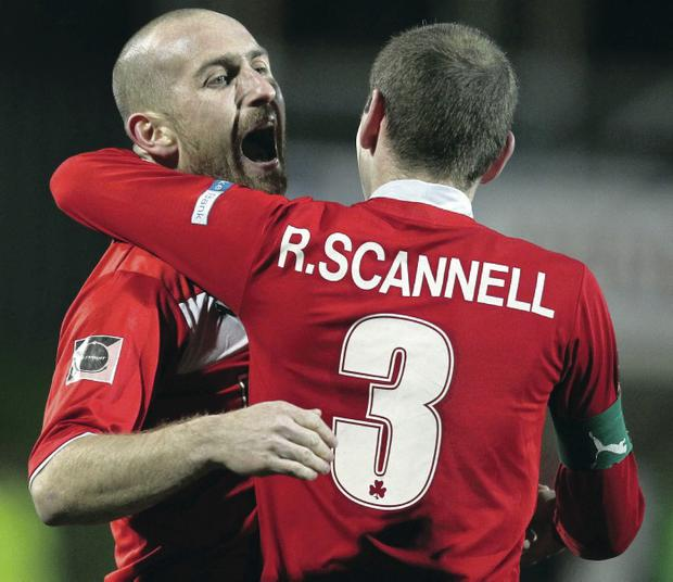 New deals: Barry Johnston (left) and Ronan Scannell have both signed contract extensions at Cliftonville