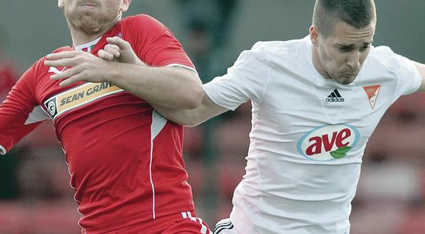 Euro jackpot: Barry Johnston, in action against Debrecen, says Irish League players deserve credit for raising their game in Europe