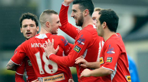 In demand: Joe Gormley laps up the adulation following Cliftonville's opening goal at Stangmore Park