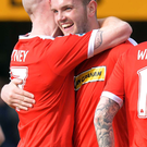 Double up: Darren Murray is hailed after his brace