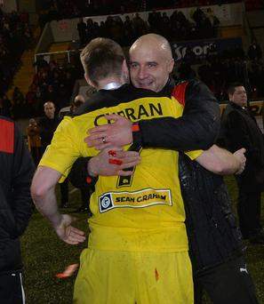 Silver lining: Gerard Lyttle with Chris Curran after last season's League Cup final