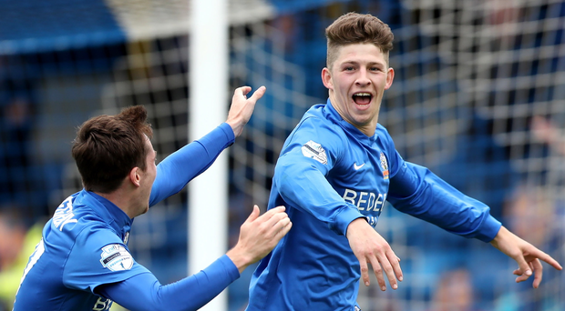 Hit man: Glenavon's Greg Moorhouse (right) is impressing on trial at Coventry City.