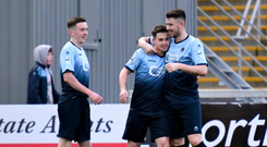 Michael McCrudden is congratulated after the second of his four goals