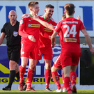 On target: Ryan Curran celebrates his strike at Mourneview