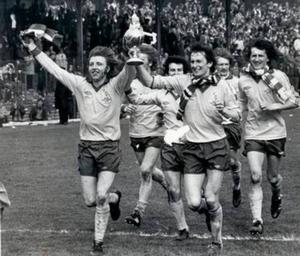 Famous day: Marty Quinn (left) celebrates Irish Cup success in 1979