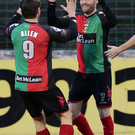Match-winner: David Scullion celebrates with Curtis Allen