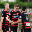 Double up: Jamie McGonigle netted twice for Coleraine