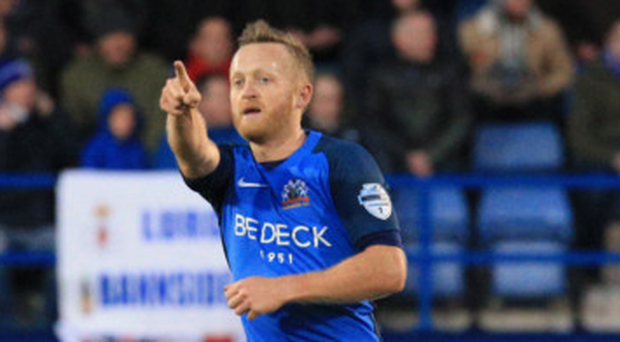 Point made: Sammy Clingan celebrates finding the net