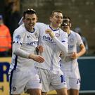 Super sub: Eoin Bradley (left) netted Coleraine's winner