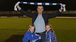 Best wishes: Oran Kearney joins son Luca and daughter Ava in saying goodbye to Coleraine fans