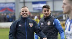 Winning feeling: Coleraine boss Rodney McAree is all smiles at the final whistle after a goal from Gareth McConaghie was enough to see off Crusaders