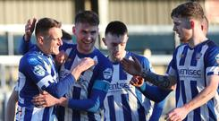Debut goal: Dean Shiels (left) opens his Bannsiders account