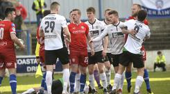 Tempers flare in the aftermath of Coleraine being awarded a third penalty