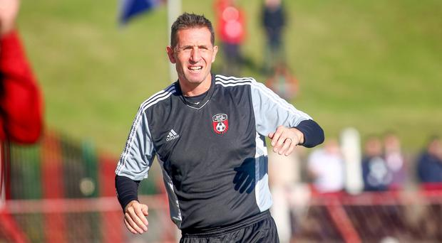 Fingers crossed: Crues boss Stephen Baxter is hoping his team can build on 4-1 thrashing of Cliftonville