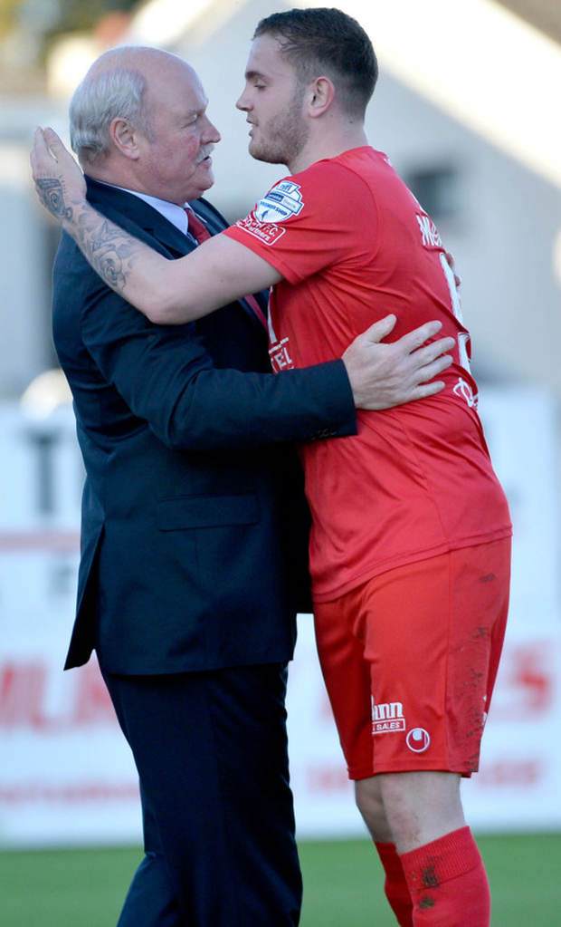 Darren Murray celebrates Portadown's equaliser with manager Ronnie McFall