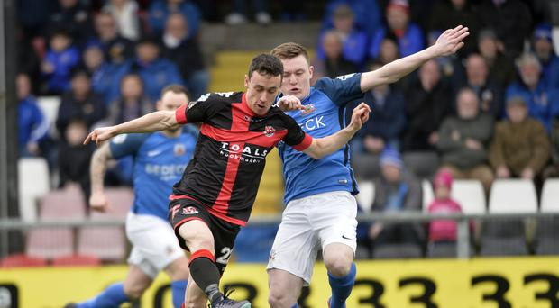 Pushing on: Paul Heatley takes on Glenavon's James Singleton during Saturday's stalemate