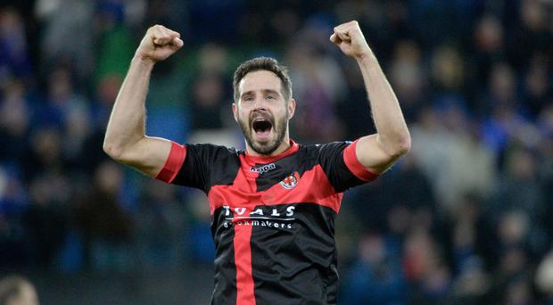 Job done: Sean Ward celebrates the win over Linfield earlier in the season