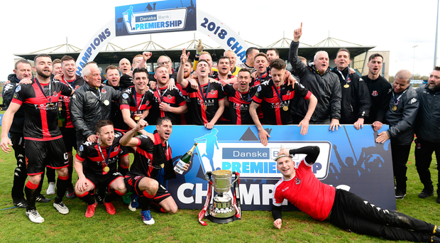 Key men: Crusaders celebrating the league title