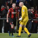 We've done it: Crusaders pair David Cushley (left) and Sean O'Neill celebrate win