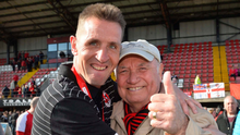 Family fortunes: Crusaders boss Stephen Baxter with his father George after clinching the title in 2015