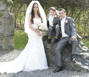 Big day: Paul Heatley with his wife and son on his wedding