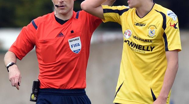 Seeing red: Jamie Glackin of Dungannon is sent off