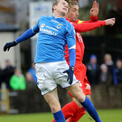 Looking up: Portadown's Keith O'Hara and Paul McElroy
