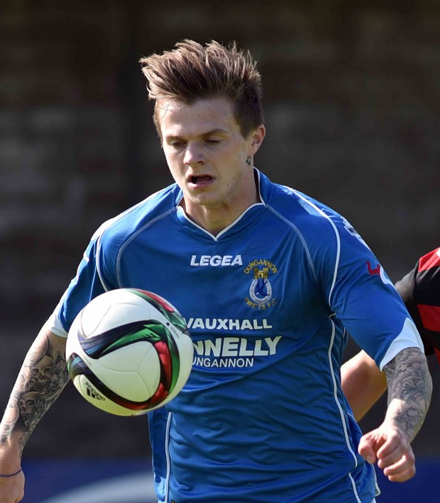 Top man: Paul McElroy scored one and is intent on claiming another as Dungannon defeated Glentoran