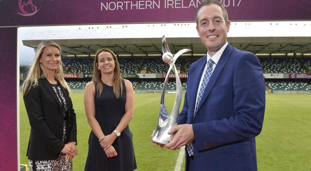 Pictured at the launch of the UEFA Women's Under-19 Championship, the finals of which are being staged in Northern Ireland next summer, are Emily Shaw, Women's Football Development Manager at UEFA, Tournament Director Sara Booth (Irish Football Association) and Sports Minister Paul Givan.
