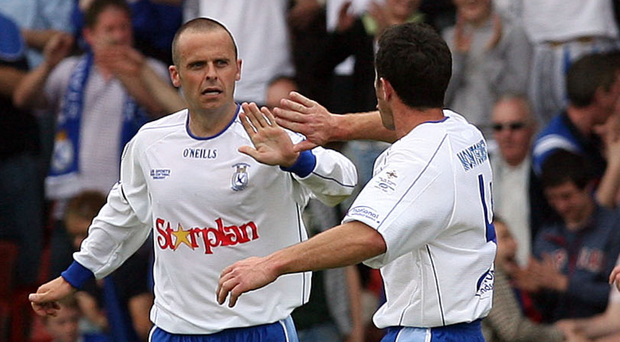 Big stage: Rodney McAree celebrates his goal in the 2007 Irish Cup final