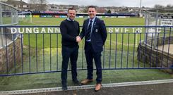 Done deal: Rodney McAree and chairman Keith Boyd