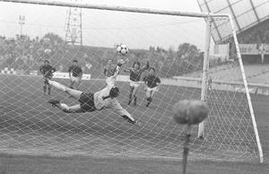 Spot on: Jim Cleary's penalty gave Glentoran a 1-0 win over Glenavon in the 1988 final