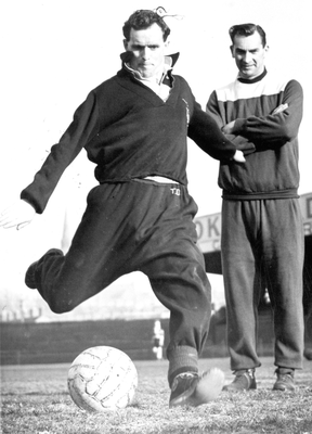 Simply great: Jackie Milburn watches Tommy Dickson in training
