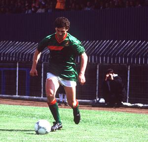 Different class: Glentoran's Jim Cleary launches an attack